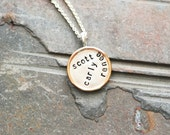 3/4 Sterling Silver and Gold Filled Rimmed Pendant and Necklace - Hand Stamped Custom Two Tone