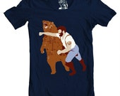 tshirt, tee, Man Punching Bear Men's t-shirt, sizes S-4XL available