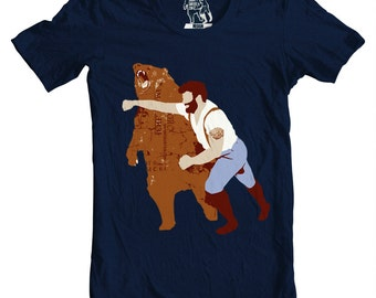 Mens Haymaker tshirt, tee, Man Punching Bear Men's t-shirt, tees for guys, Graphic T Shirt, sizes S-4XL available