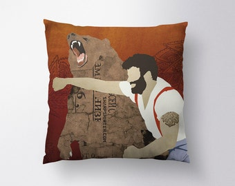 Haymaker, Man Punching Bear (Cropped) Pillow // Spun Polyester Throw Pillow Case, Cover, With or Without Insert - Made in USA