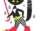Rainy Day Cat Screen Print by Print Mafia®
