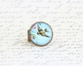Cocktail Ring, Bird Ring, Adjustable Brass Ring, Glass Domed, Wide Band, Gift For Sister, Gift For Friend, Gift For Woman, Valentines Gift