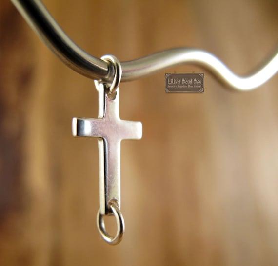 Tiny Cross Charm, Jewelry Link, Silver Sideways Cross Charm, Sterling Silver Small Cross Link Charm Necklace (CH 1070)