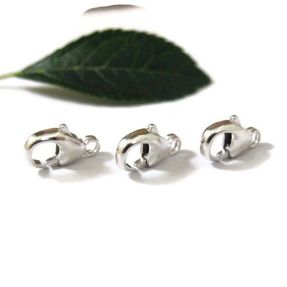3 Sterling Clasps, Medium Sized, 11mm Lobster Claws, Set of 3 Silver Clasps, Silver Findings, Jewelry Findings (F 118s)