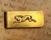 Rabbit Run Money Clip Antiqued Brass Gift