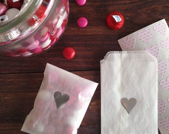 silver heart glassine treat bags