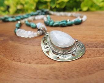 Sale - Tibetan Moonstone Pendant Necklace - Turquoise Pyrite Sterling Silver - Luxury Boho Jewelry - Gemstone Peach Grey White Metallic
