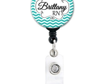 Retractable ID Badge Holder - Personalized Name - Teal Chevron with Name and Title