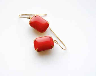 Red Glass Earrings. Vintage Rhinestones. Ruby Drop Earrings. Festive Sexy Dangles. Gifts Under 25. Gifts for Her. FREE Shipping in US