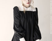 Gloomth Church Smock Dress with Lace Trim