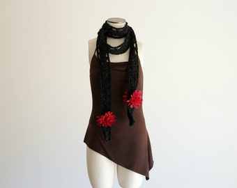 Black Crochet Scarf - Skinny Black Scarf with 4 Red Fashion 'Silk' Flowers (Black and Red Scarf, Red and Black Scarf)