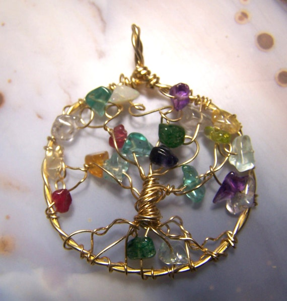gold family tree necklace pendant birthstone gemstone for