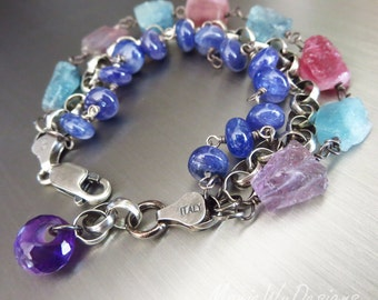 Indicolite- Pink Lilac Tourmaline Crystals-Tanzanite-3 Strand Oxidized Sterling Silver Bracelet with Amethyst Charm