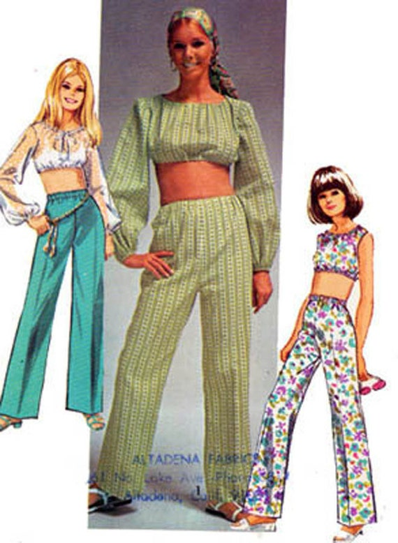 1960s MIDRIFF Top and Pants Simplicity 8665 Vintage 60s Sewing Pattern Size 9/10 Bust 30.5 UNCUT