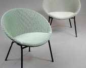 """Lloyd Loom """"lusty"""" lounge chair mid century modern chairs pastel color - THIS LISTING is for the sea green chair only"""