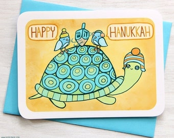 Happy Hanukkah Card - Turtle and Friends - Holiday Notecard