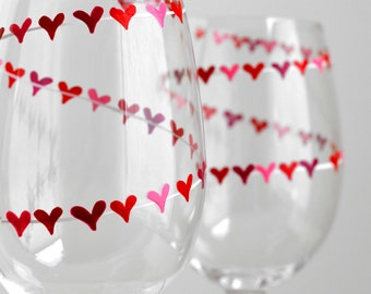 Red and Pink Heart Banner Valentine Wine Glasses - Personalized Valentines Hand Painted Glasses with your Names - Valentine Gift