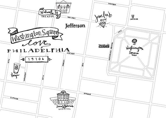 Washington Square Hand-Drawn Map Philadelphia 8x10