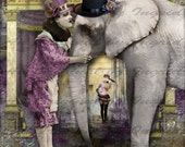 Pierrot and the Elephant Digital Collage Greeting Card (Suitable for Framing)