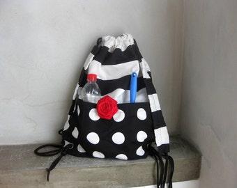 Cinch Sack, Cinch bag, Black White Drawstring, Small Backpack, Gym Bag, Beach Bag, Travel Bag, School Bag, Festival Bag, Cotton Summer Bag