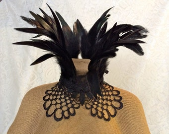 Maleficent feather collar - Victorian feather ruff necklace - black goth witchy feather choker - ready to ship - netted coque