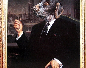 Dog Portrait - Sir Isham Blovius, Sir Luther Deadbolt - 1993 Vintage Book Page - Whimsical Dog Art - 2 Sided - 10.25 x 8.25