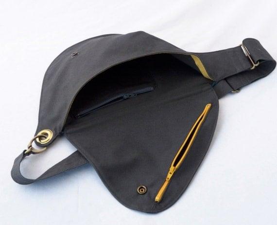 Belt Bag in Slate Cotton : Fanny Pack, Hip Bag