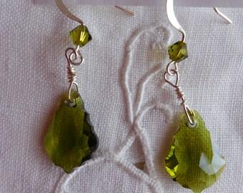 Baroque Swarovski Crystal Drop Earrings in Olivine