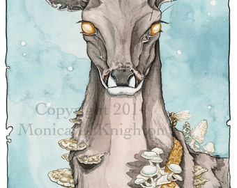 Dissolution, large print on watercolor paper, from the Going Stag series, deer