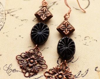 Black Earrings, Copper Earrings, Long Earrings, Czech Glass Jewelry, Vintage Style, SRAJD