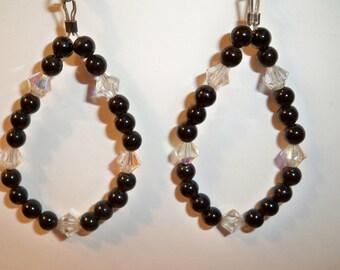 Hoop Earrings,  Beaded Hoop Earrings with Black Onyx Beads and Clear Crystal Beads, Handmade Hoop Earrings  in Custom Order Color Combos