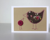Mother bird card, purple and brown floral