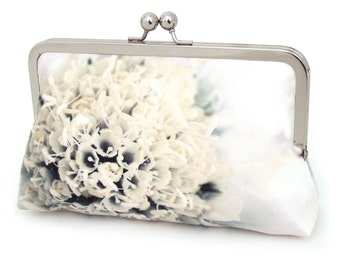 Clutch bag, silk purse, ivory petals, wedding purse, flower clutch, bridesmaid gift, BLOSSOM BELLE