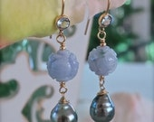 Carved Lavender Jade Balls Earrings with Baroque Tahitian Pearls