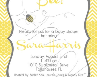 Printable Gender Neutral Bee Baby Shower Invitation