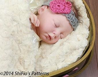 CROCHET PATTERN For Baby Girl Headbands, Heart, Flowers, Bows in 5 sizes PDF 287 Digital Download