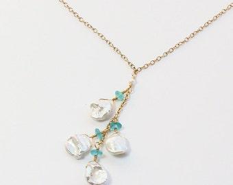 Keshi Pearl Apatite Necklace, Beach Wedding Necklace, Bridal, Bridesmaid Necklace, Beachy Jewelry, White Keshi Pearls, Aqua Blue Apatite