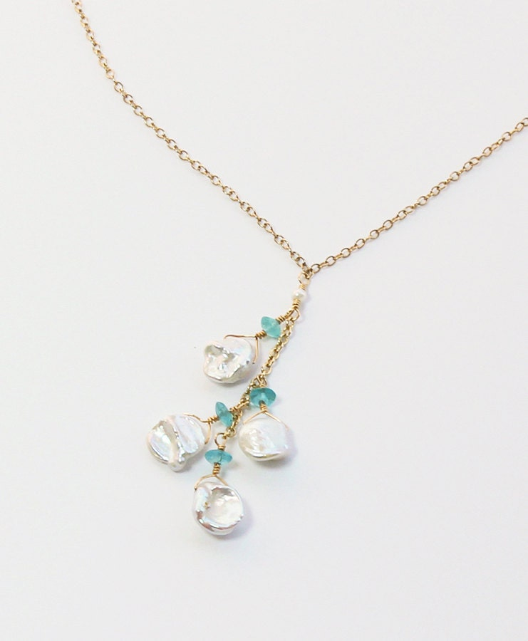 Keshi Pearl Necklace: Keshi Pearl Apatite Necklace Beach Wedding Necklace Bridal