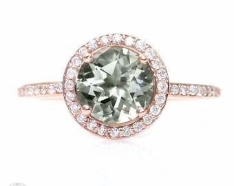 Rose Gold Green Amethyst Ring Diamond Halo Engagement Ring 14K White Yellow or Rose Gold Custom Bridal Jewelry