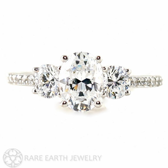 Oval White Sapphire Engagement Ring 3 Stone Sapphire Ring with