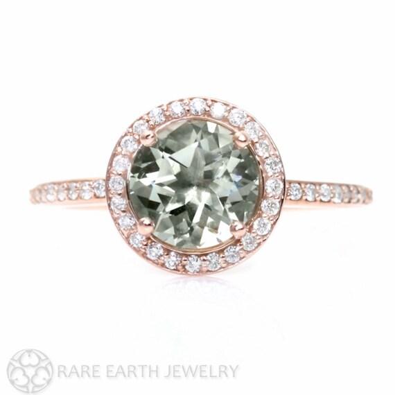 Rose Gold Green Amethyst Ring Diamond Halo Engagement Ring 14K