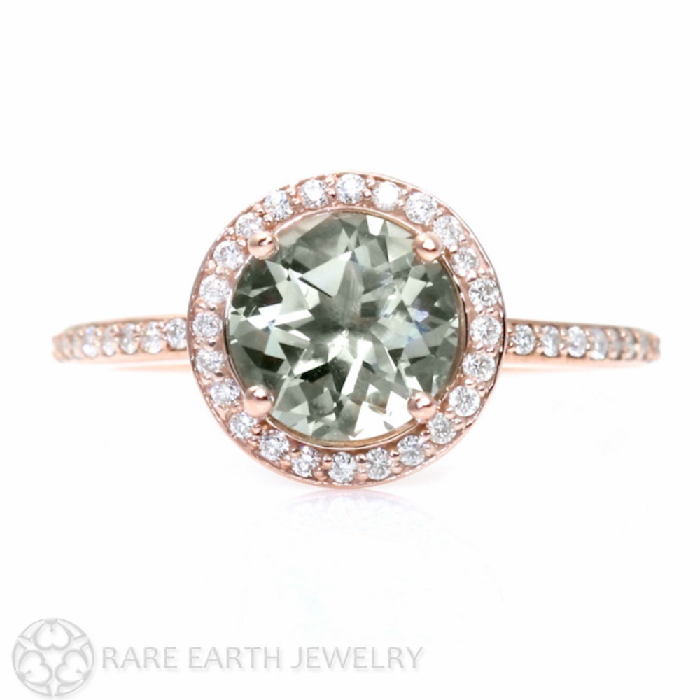 rose gold green amethyst ring diamond halo engagement ring 14k. Black Bedroom Furniture Sets. Home Design Ideas