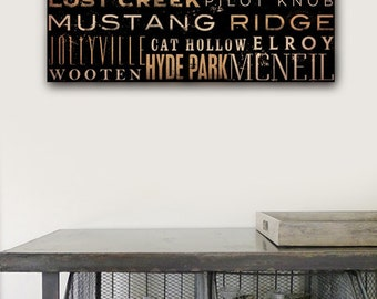 Austin Texas neighborhoods typography graphic artwork on gallery wrapped canvas by Stephen Fowler