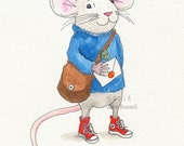 Hipster Messenger Mouse with Red Converse Sneakers Print
