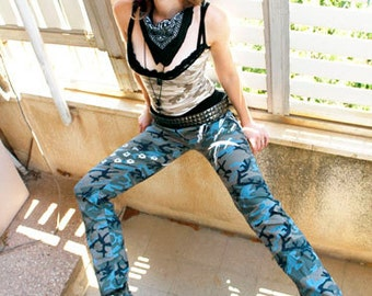 50% OFF SALE Agoraphobix Street Beat bullet print camouflage pants| skinny jeans | punk pants