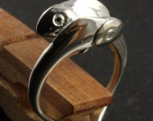 Pisces zodiac ring in sterling silver