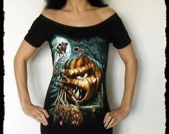 Horror shirt Halloween pumpkin gothic alternative clothing Off Shoulder Tunic top dress dark style fashion
