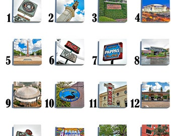Houston - Stone Coaster Tile Set - Pick any Four images - 16 to choose from