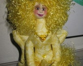 Sparkly, yellow, fiber sculpted, fantasy butterfly fairy art doll