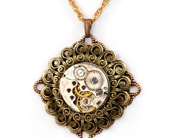Steampunk Layered Necklace with Antiqued Brass and Copper Filigrees and Vintage Watch Movement by Velvet Mechanism
